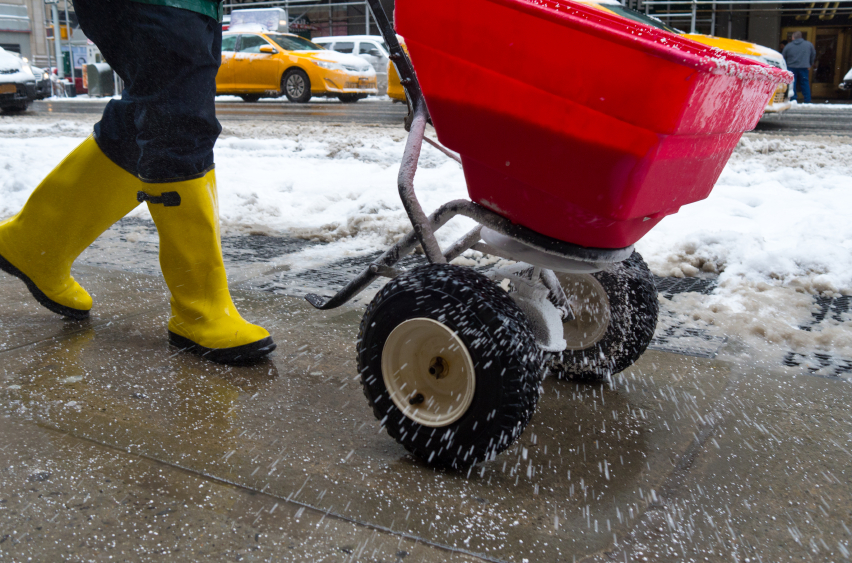 Should I sand or salt my driveway and walks in the winter?